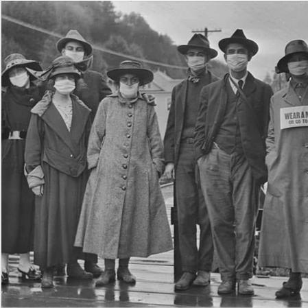 gripa espanola tapabocas barbijo en 1918