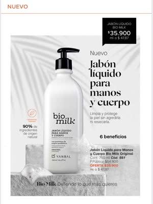Jabón Liquido Para Manos Y Cuerpo Bio Milk De Yanbal
